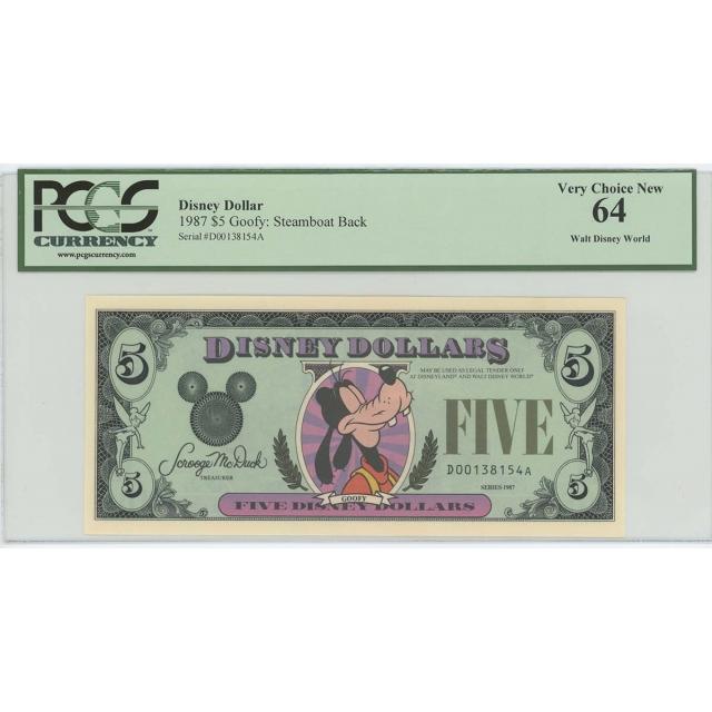 1987 $5 Disney Dollar Goofy Steamboat Back PCGS 64 Walt Disney