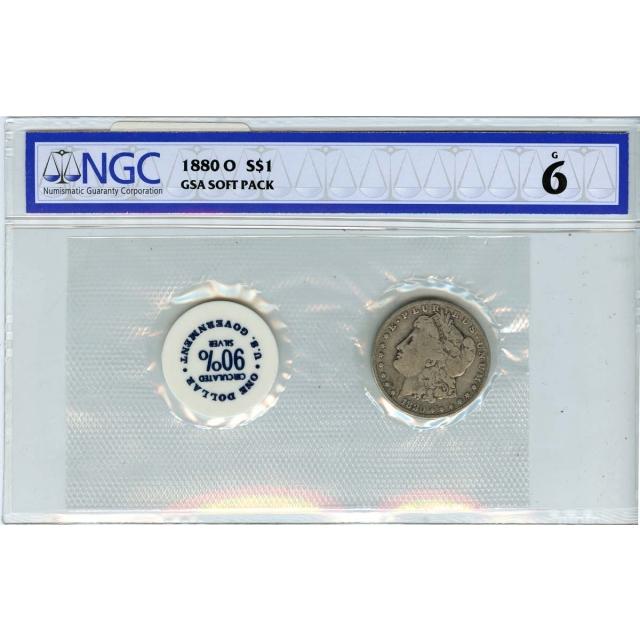 1880-O Morgan Dollar GSA SOFT PACK S$1 NGC G6