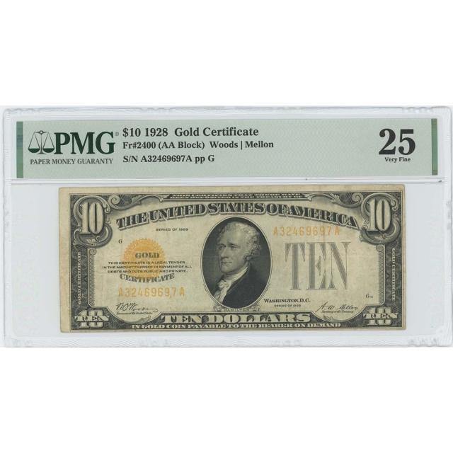 1928 $10 Gold Certificate Woods Mellon Fr# 2400 PMG 25