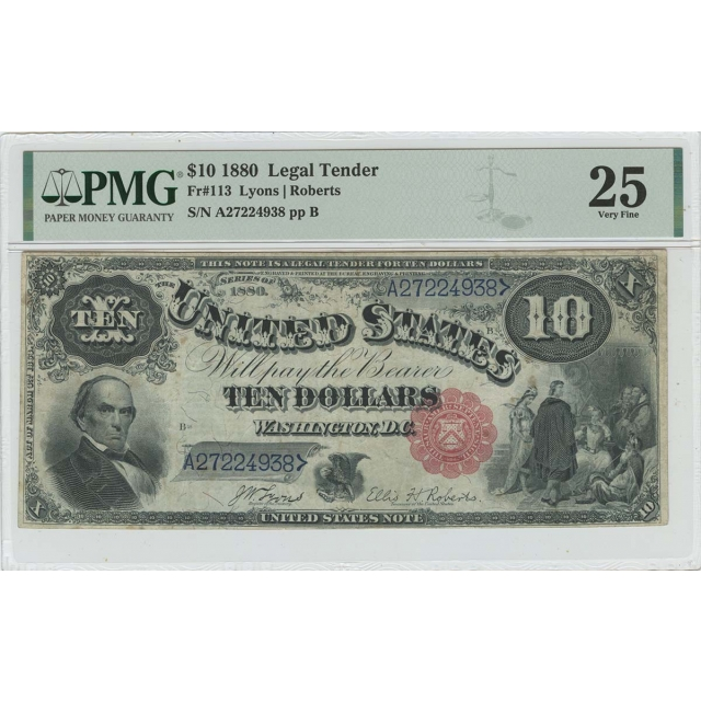 1880 $10 Legal Tender Sm Red Scalloped Lyons Roberts Fr# 113 PMG VF25