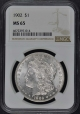1902 Morgan Dollar S$1 NGC MS65
