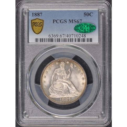 1887 50C Liberty Seated Half Dollar PCGS MS67 (CAC)