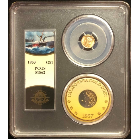 1853 G$1 Gold Dollar PCGS MS62 S.S. Central America W/Pinch Gold