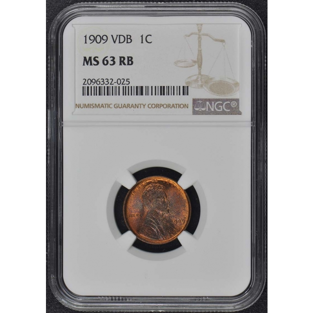 1909 VDB Wheat Reverse Lincoln Cent 1C NGC MS63RB