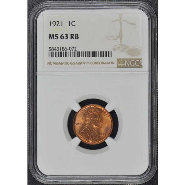 1921 Wheat Reverse Lincoln Cent 1C NGC MS63RB