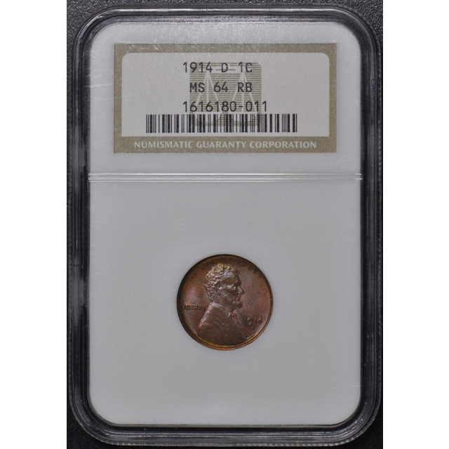 1914-D Wheat Reverse Lincoln Cent 1C NGC MS64RB