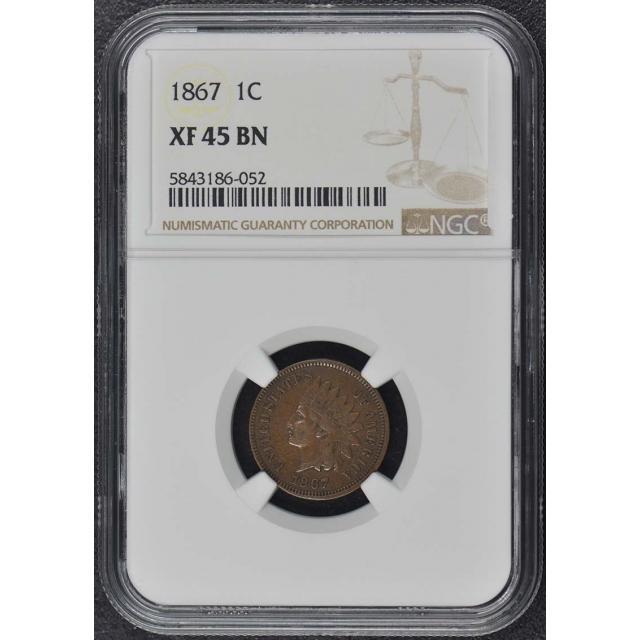 1867 Bronze Indian Cent 1C NGC XF45BN