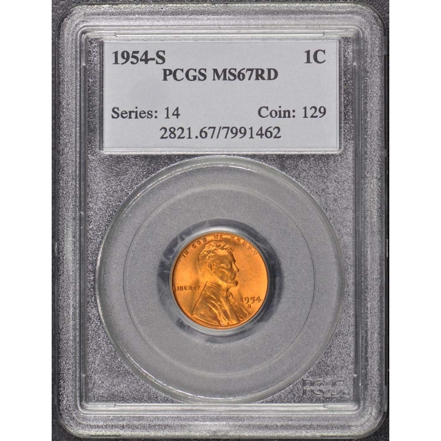1954-S 1C Lincoln Cent - Type 1 Wheat Reverse PCGS MS67RD