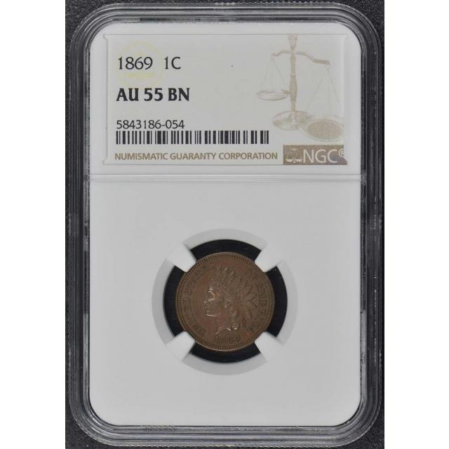 1869 Bronze Indian Cent 1C NGC AU55BN