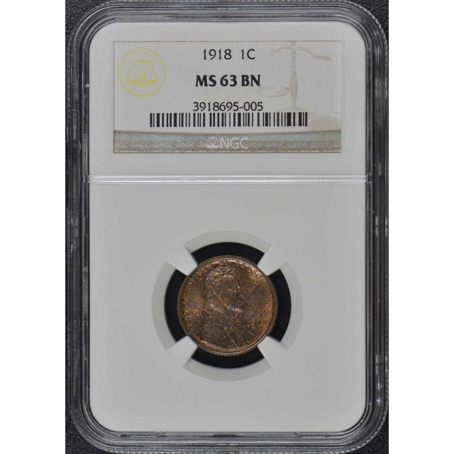 1918 Wheat Reverse Lincoln Cent 1C NGC MS63BN