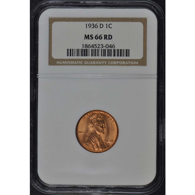 1936-D Wheat Reverse Lincoln Cent 1C NGC MS66RD