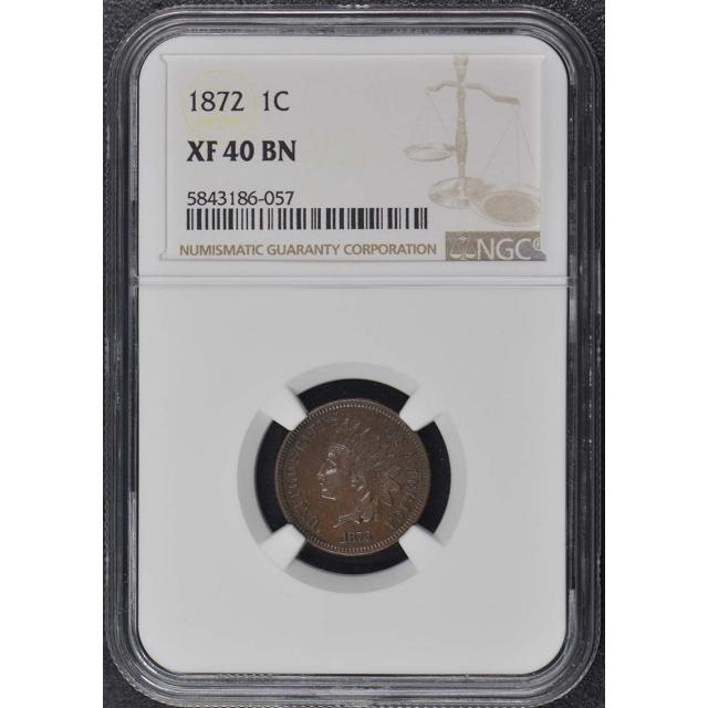 1872 Bronze Indian Cent 1C NGC XF40BN