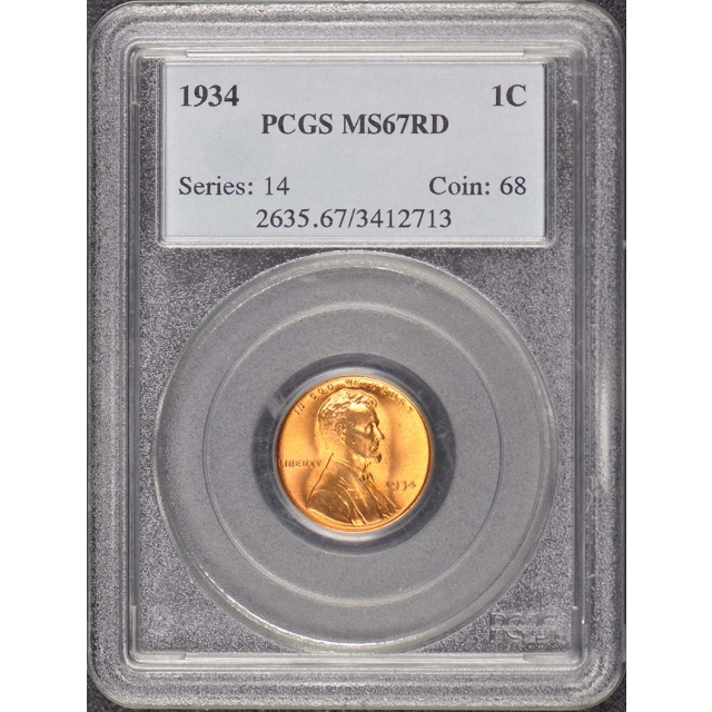 1934 1C Lincoln Cent - Type 1 Wheat Reverse PCGS MS67RD