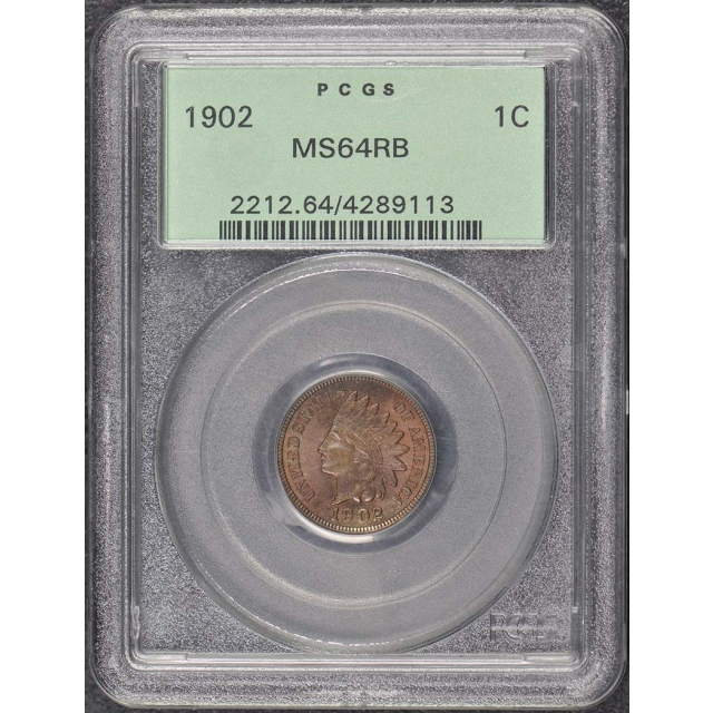 1902 1C Indian Cent - Type 3 Bronze PCGS MS64RB OGH