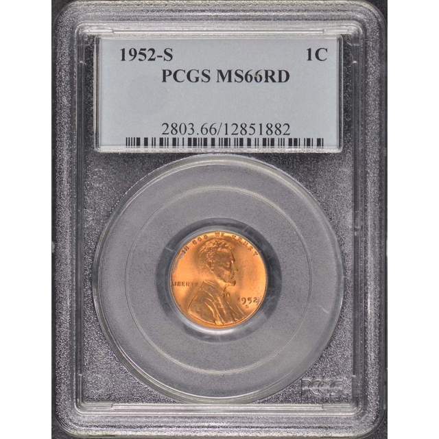1952-S 1C Lincoln Cent - Type 1 Wheat Reverse PCGS MS66RD