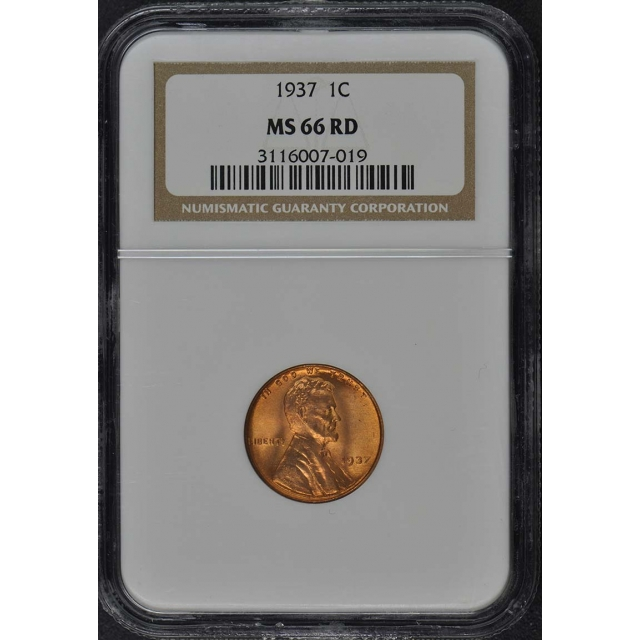 1937 Wheat Reverse Lincoln Cent 1C NGC MS66RD