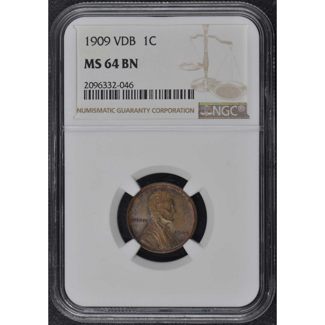 1909 VDB Wheat Reverse Lincoln Cent 1C NGC MS64BN