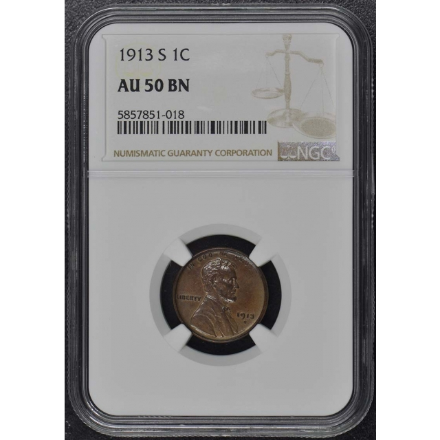 1913-S Wheat Reverse Lincoln Cent 1C NGC AU50BN