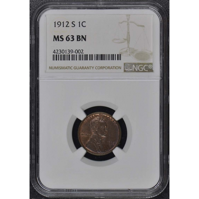 1912-S Wheat Reverse Lincoln Cent 1C NGC MS63BN