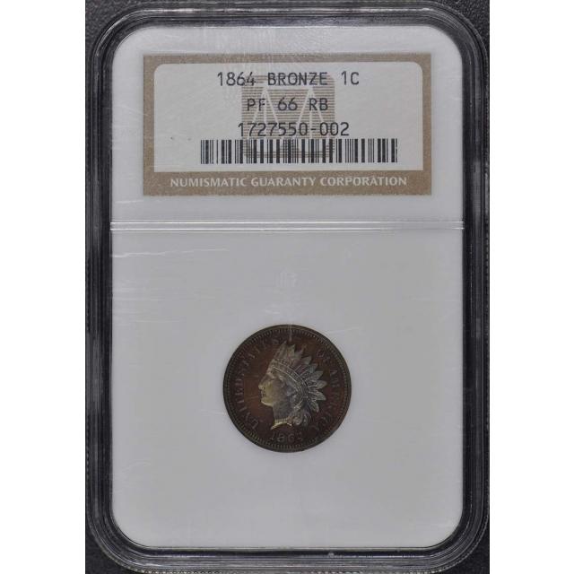 1864 Bronze Indian Cent 1C NGC PR66RB