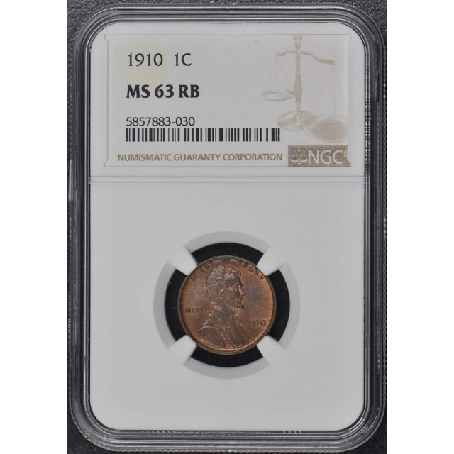1910 Wheat Reverse Lincoln Cent 1C NGC MS63RB