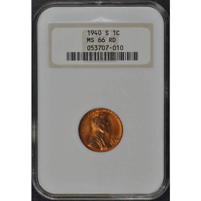 1940-S Wheat Reverse Lincoln Cent 1C NGC MS66RD Brick Holder