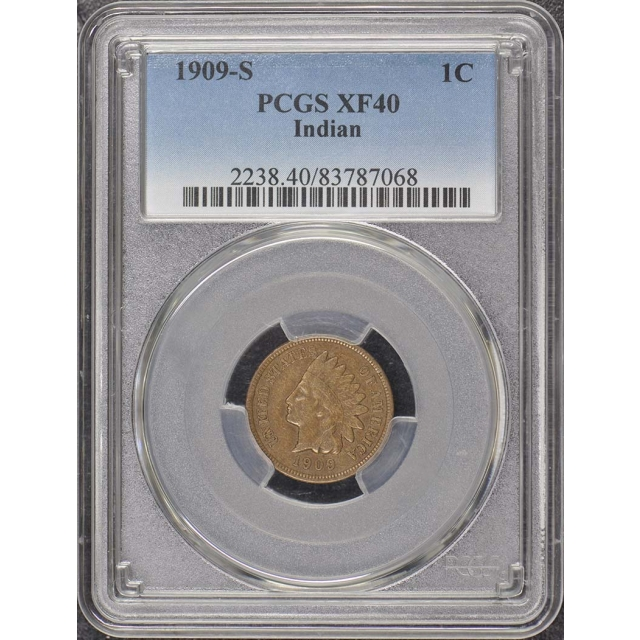 1909-S 1C Indian Indian Cent - Type 3 Bronze PCGS XF40BN