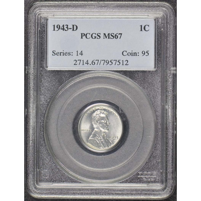 1943-D 1C Lincoln Cent (Wheat Reverse) - Type 2 Steel PCGS MS67