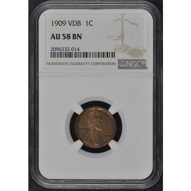 1909 VDB Wheat Reverse Lincoln Cent 1C NGC AU58BN