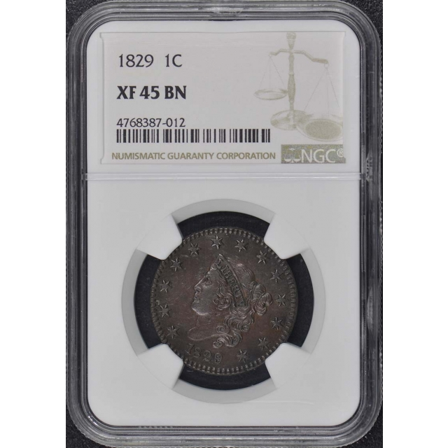 1829 Coronet Cent 1C NGC XF45BN