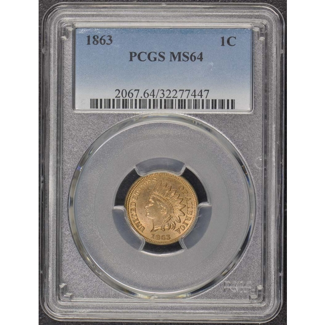 1863 1C Indian Cent Type 2 Copper-Nickel PCGS MS64
