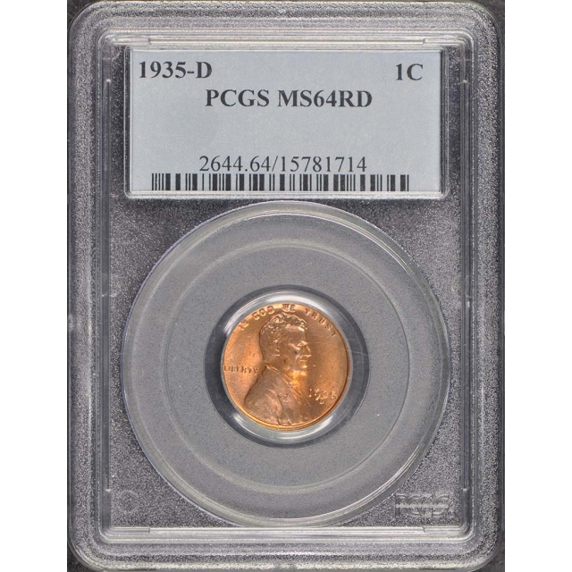 1935-D 1C Lincoln Cent Wheat Reverse PCGS MS64RD