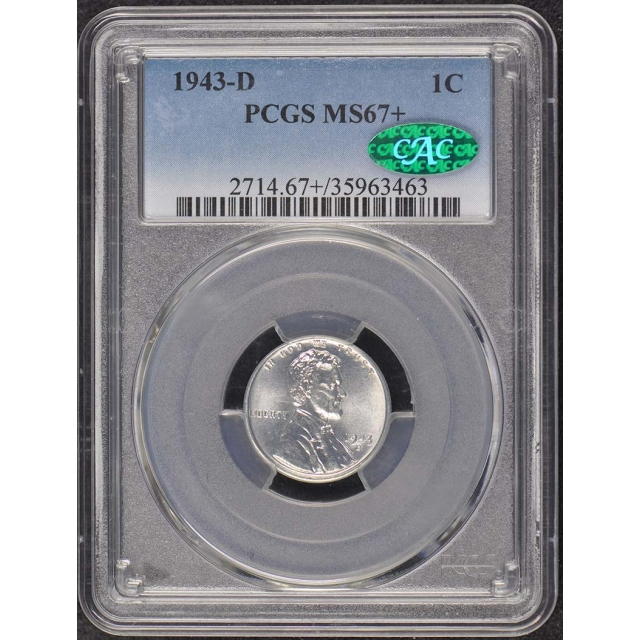 1943-D 1C Lincoln Cent Wheat Reverse Steel PCGS MS67+ (CAC)