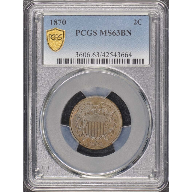 1870 2C Two Cent Piece PCGS MS63BN