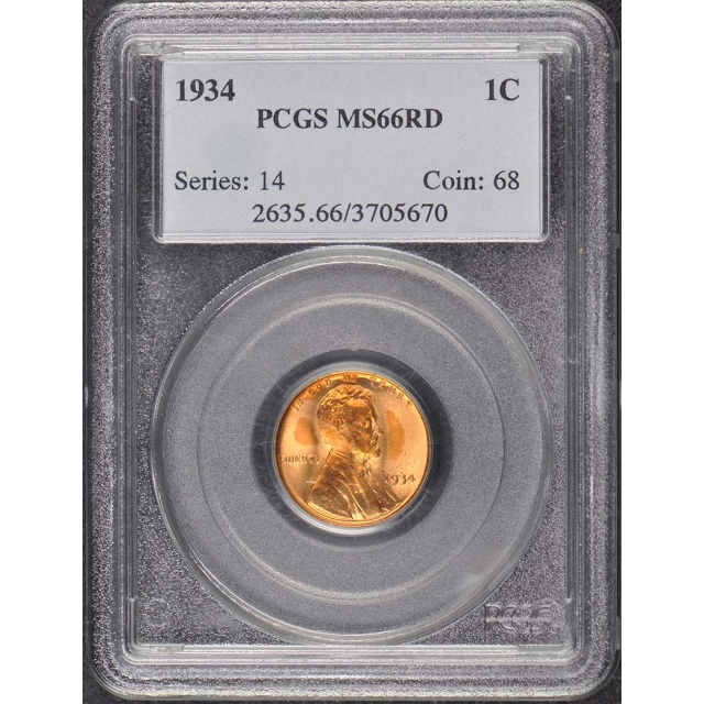 1934 1C Lincoln Cent - Type 1 Wheat Reverse PCGS MS66RD