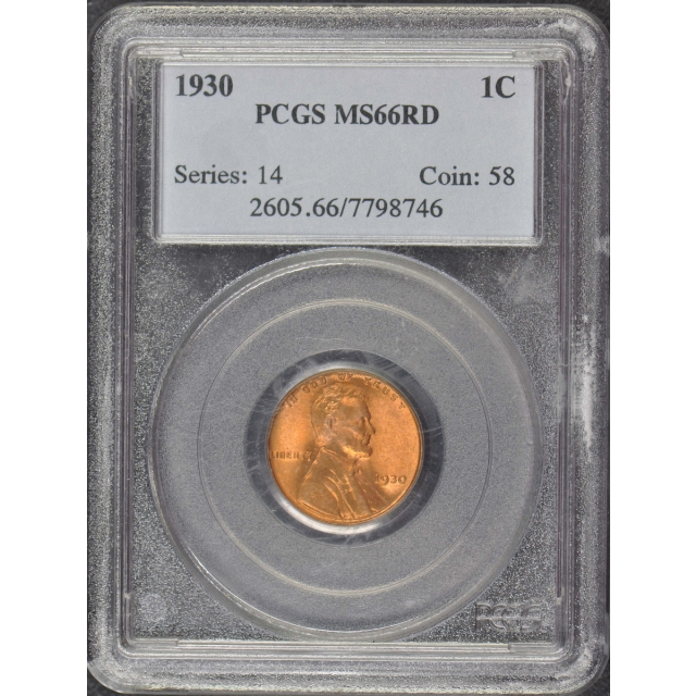 1930 1C Lincoln Cent - Type 1 Wheat Reverse PCGS MS66RD