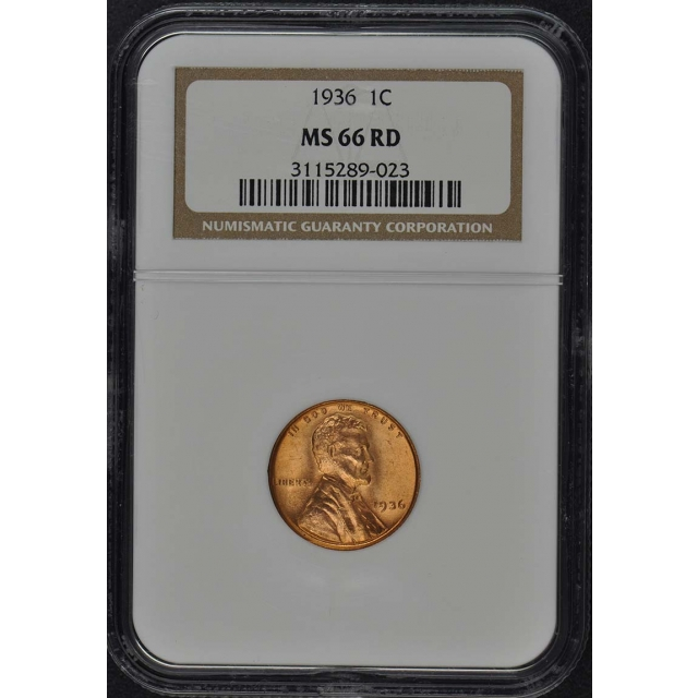 1936 Wheat Reverse Lincoln Cent 1C NGC MS66RD