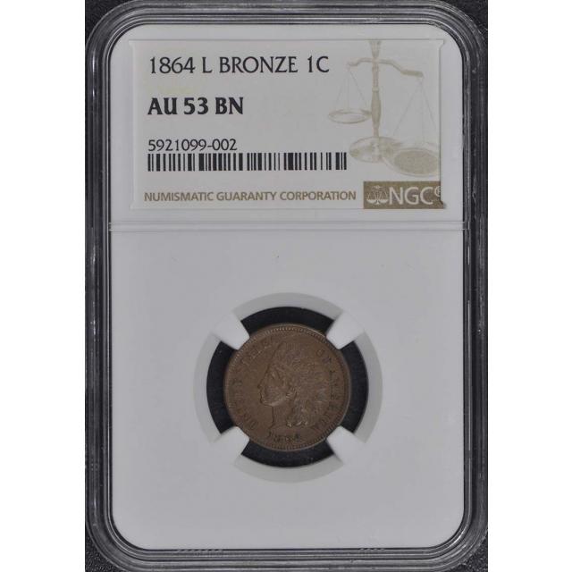 1864 L Bronze Indian Cent 1C NGC AU53BN