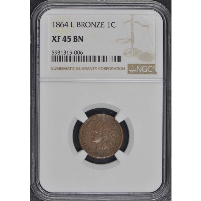 1864 L Bronze Indian Cent 1C NGC XF45BN