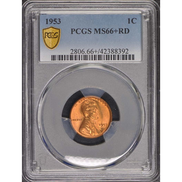1953 1C Lincoln Cent - Type 1 Wheat Reverse PCGS MS66+RD