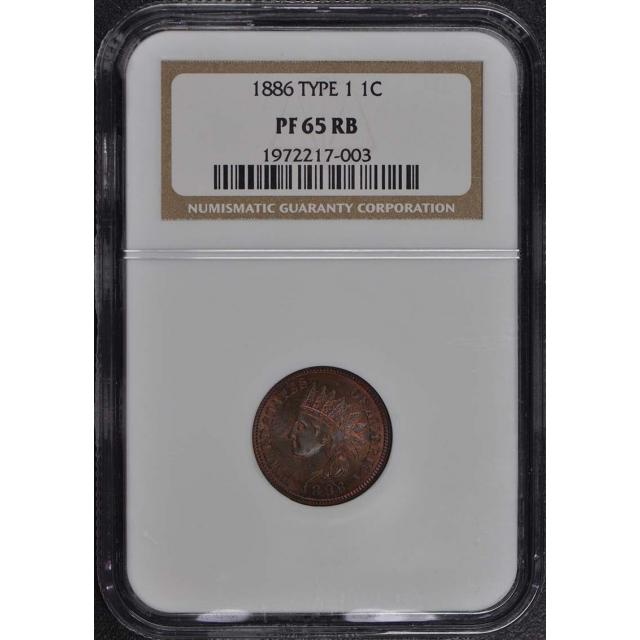 1886 TYPE 1 Bronze Indian Cent 1C NGC PR65RB
