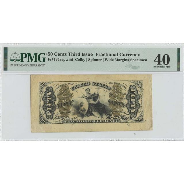 Third Issue 50 Cents Fractional Wide Margins Specimen FR#1343spwmf PMG 40