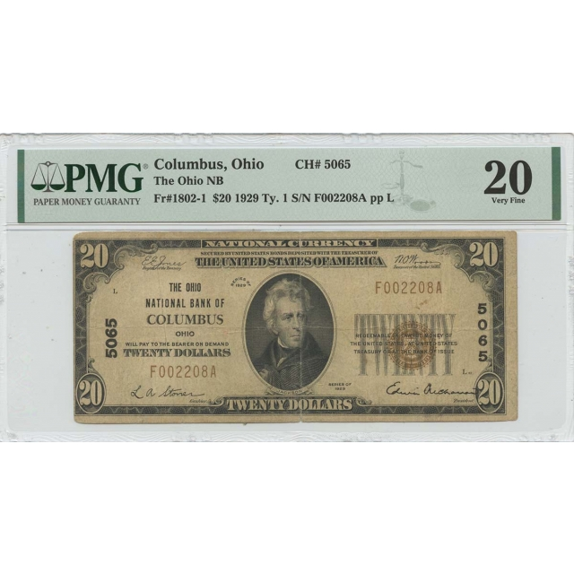1929 Ty.1 $20 Ohio NB Columbus CH#5065 PMG VF20