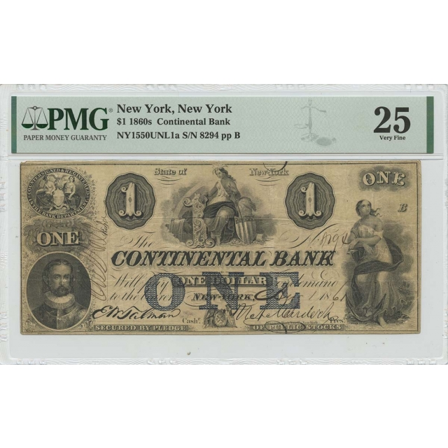 1860s $1 Continental Bank NY New York PMG VF25