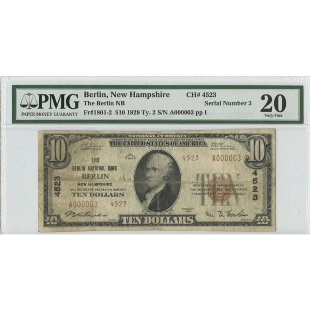 1929 TY2 $10 The Berlin NB FR#1801-2 PMG20 VERY FINE