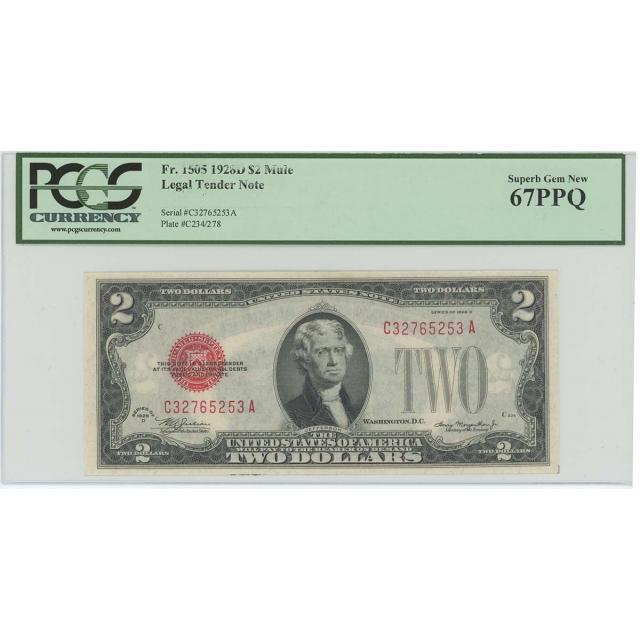 1928D $2 Legal Tender FR#1505 PCGS 67 PPQ Mule Superb Gem
