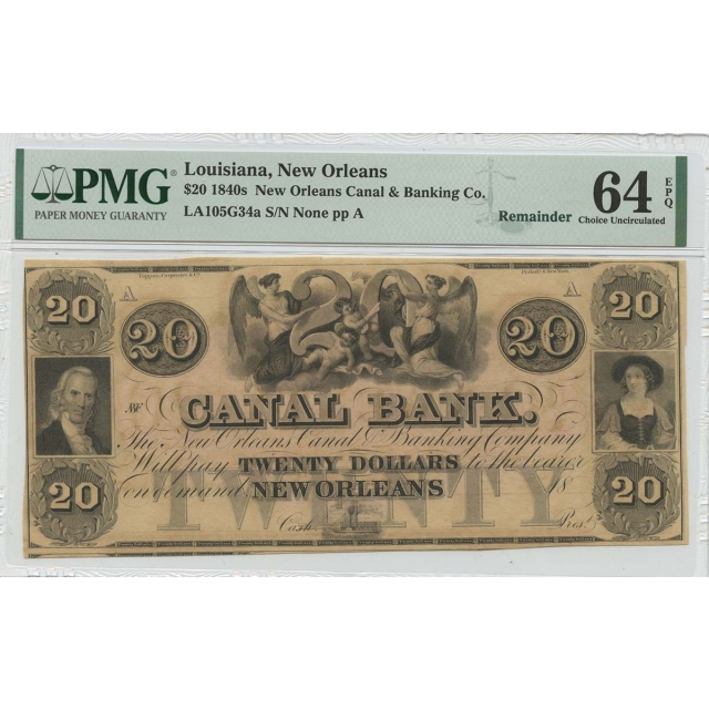 1840s $20 Louisiana New Orleans Canal Banking Co  PMG CH64 EPQ