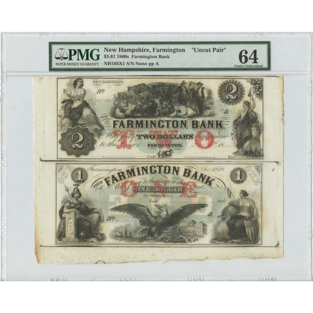 1860's $2 & $1 Uncut Pair Farmington Bank NH PMG MS64 Choice Uncirculated