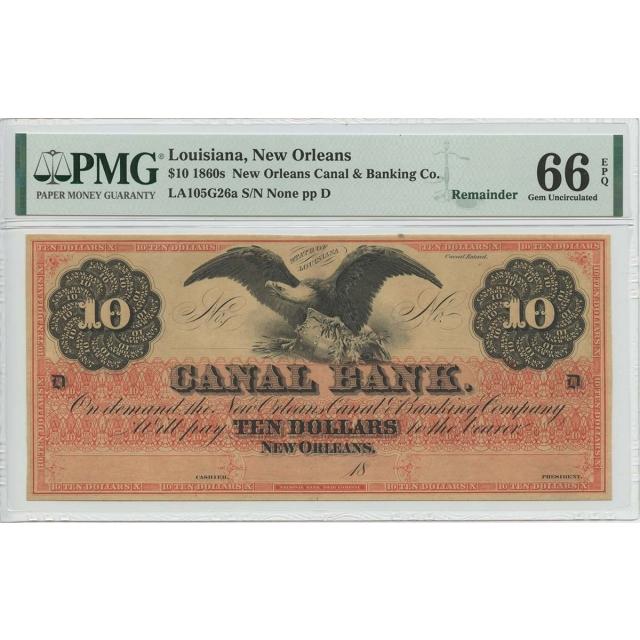 1860s $10 New Orleans LA New Orleans Canal Bank PMG 66 Gem Unc EPQ Remainder