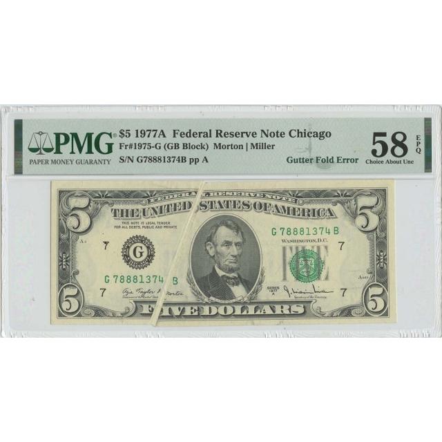 1977A $5 FRN Gutter Fold Error 1975-G PMG CH Unc 58 EPQ